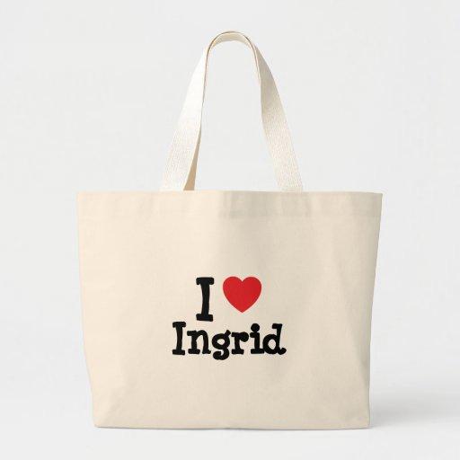I love Ingrid heart T-Shirt Canvas Bags