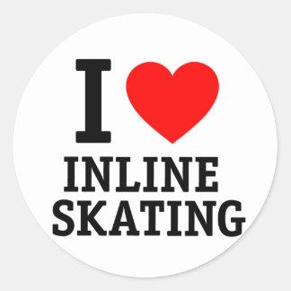 I Love Inline Skating Round Sticker