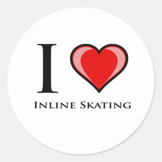 I Love Inline Skating Round Stickers