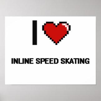 I Love Inline Speed Skating Digital Retro Design Poster