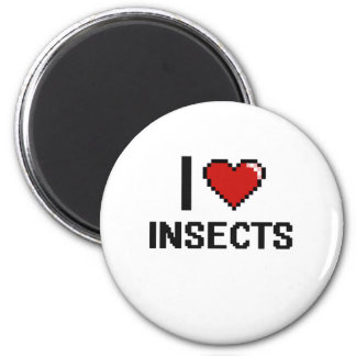 I love Insects Digital Design 6 Cm Round Magnet