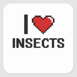I love Insects Digital Design Square Sticker
