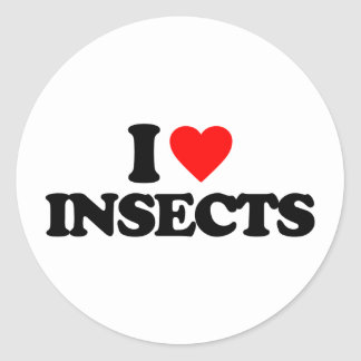 I LOVE INSECTS ROUND STICKER