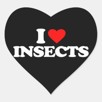 I LOVE INSECTS HEART STICKER
