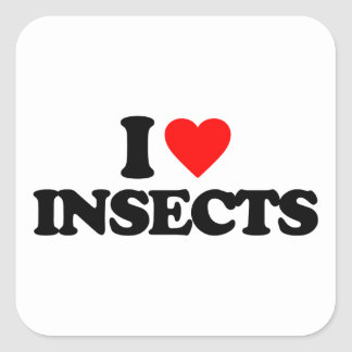I LOVE INSECTS SQUARE STICKER