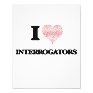 I love Interrogators (Heart made from words) 11.5 Cm X 14 Cm Flyer