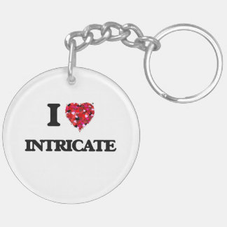 I Love Intricate Double-Sided Round Acrylic Key Ring