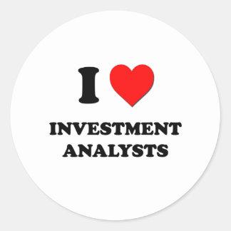 I Love Investment Analysts Round Sticker