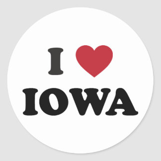 I Love Iowa Classic Round Sticker