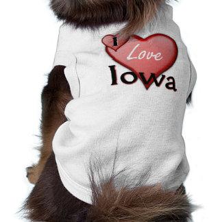 I Love Iowa Sleeveless Dog Shirt