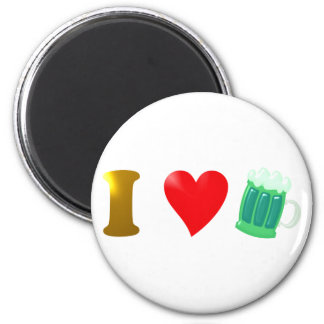 I love Ireland I love Irish country green beer 6 Cm Round Magnet