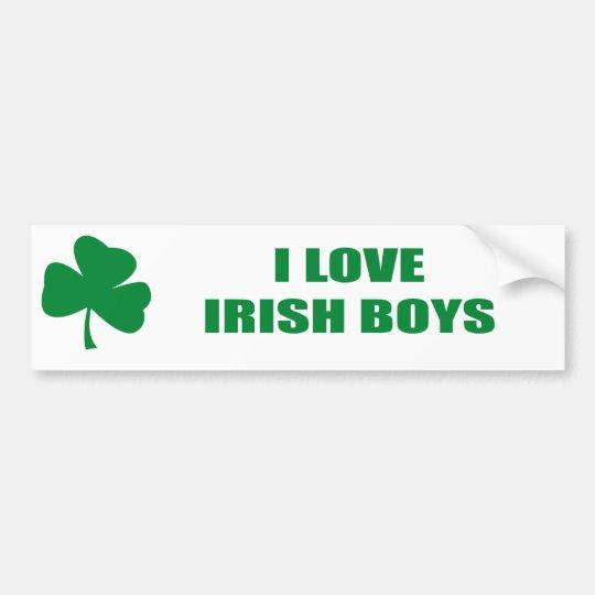 I LOVE IRISH BOYS BUMPER STICKER