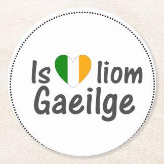 I Love Irish Gaeilge Gaelic Paper Coasters Round Paper Coaster