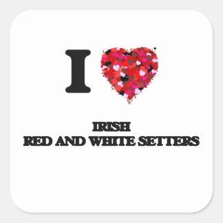 I love Irish Red And White Setters Square Sticker