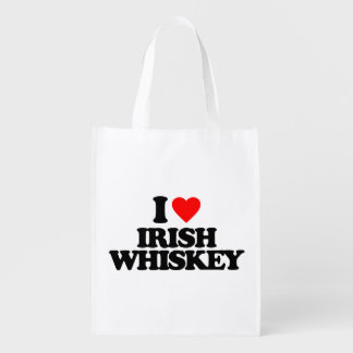 I LOVE IRISH WHISKEY REUSABLE GROCERY BAGS