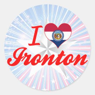 I Love Ironton, Missouri Round Sticker