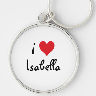 I Love Isabella Silver-Colored Round Key Ring