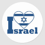 I Love Israel Round Stickers