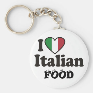 I Love Italian FOOD Basic Round Button Key Ring