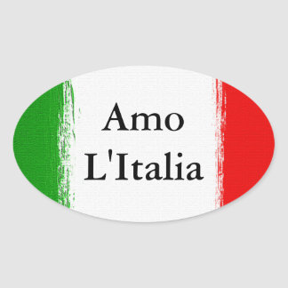 I love Italy.Flag of Italy. Oval Sticker