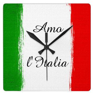 I love Italy/ Flag of Italy. Text Square Wall Clock