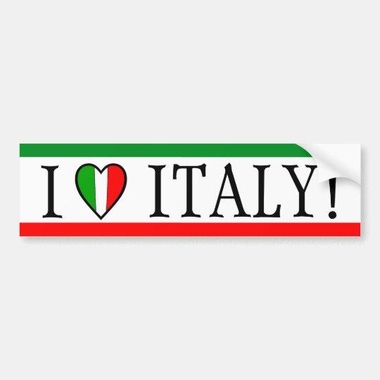 I Love Italy! Heart Flag Bumper Sticker