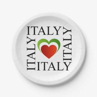 I love italy with italian flag colors paper plate