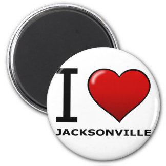 I LOVE JACKSONVILLE,FL - FLORIDA 6 CM ROUND MAGNET