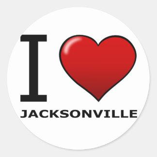 I LOVE JACKSONVILLE,FL - FLORIDA ROUND STICKER