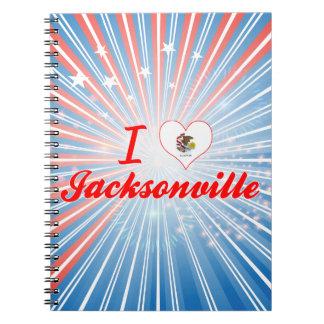 I Love Jacksonville, Illinois Spiral Notebooks