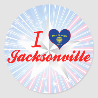 I Love Jacksonville Oregon Round Sticker