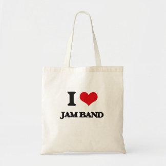 I Love JAM BAND Tote Bags