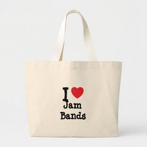 I love Jam Bands heart custom personalized Bag