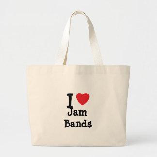 I love Jam Bands heart custom personalized Jumbo Tote Bag