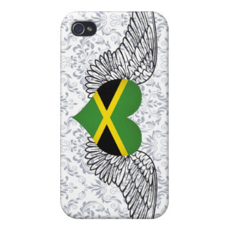 I Love Jamaica -wings Cases For iPhone 4