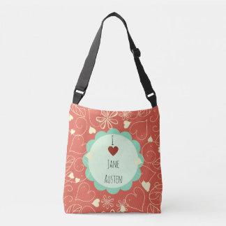 I Love Jane Austen Orange Pattern Crossbody Bag