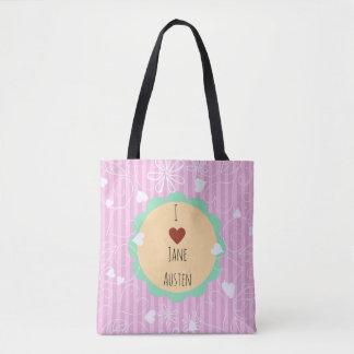 I Love Jane Austen pink pattern Tote Bag