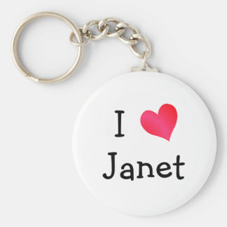 I Love Janet Basic Round Button Key Ring
