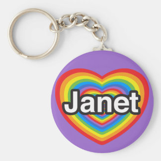 I love Janet. I love you Janet. Heart Key Ring