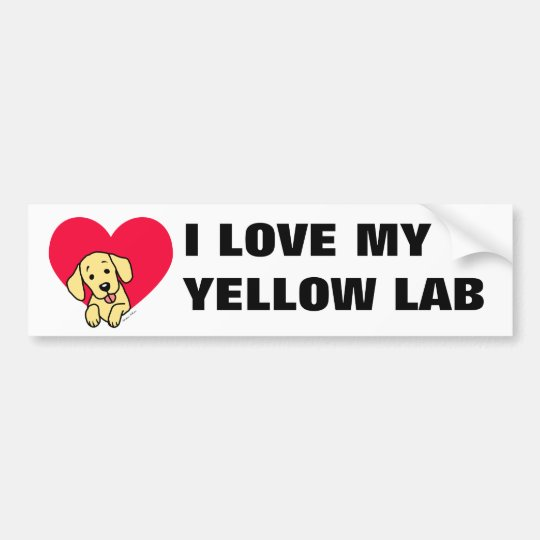 I LOVE JAPAN Yellow Labrador Cartoon Bumper Sticker