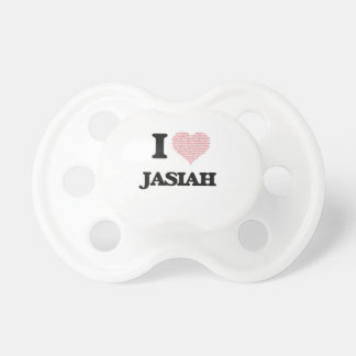 I Love Jasiah (Heart Made from Love words) Baby Pacifier