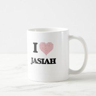 I Love Jasiah (Heart Made from Love words) Basic White Mug