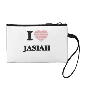 I Love Jasiah (Heart Made from Love words) Change Purse