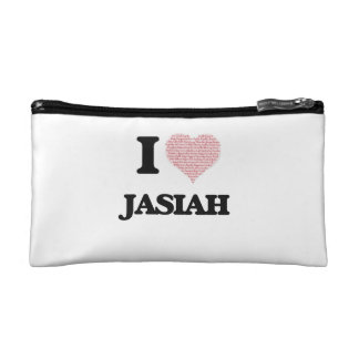 I Love Jasiah (Heart Made from Love words) Cosmetic Bag