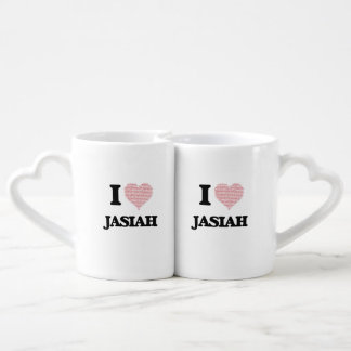 I Love Jasiah (Heart Made from Love words) Lovers Mug