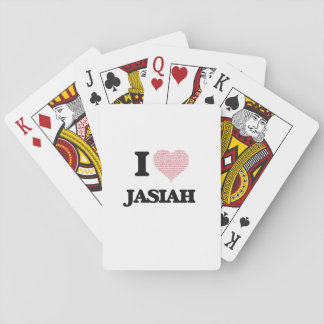 I Love Jasiah (Heart Made from Love words) Poker Cards