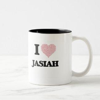 I Love Jasiah (Heart Made from Love words) Two-Tone Mug