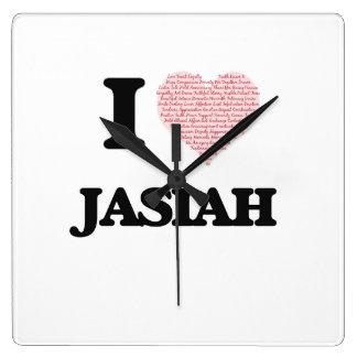I Love Jasiah (Heart Made from Love words) Wallclock