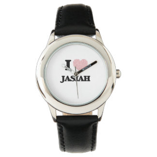 I Love Jasiah (Heart Made from Love words) Wristwatches