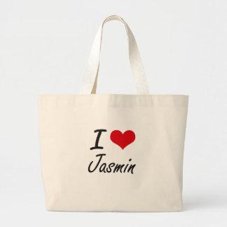 I Love Jasmin artistic design Jumbo Tote Bag